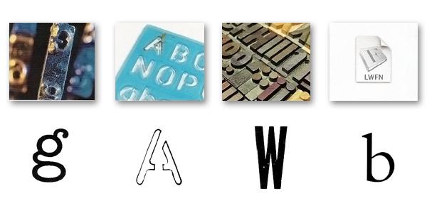 Typeface produs de o mașină de scris, un stencil, o tiparniță și un font pe computer folosind limbajul PostScript (ex. Brembo).
