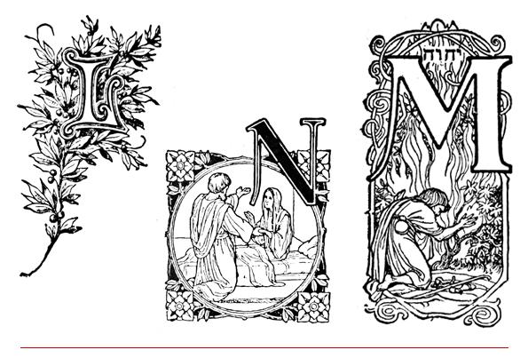 drop caps - inițiale - letrine; literele L, M și N